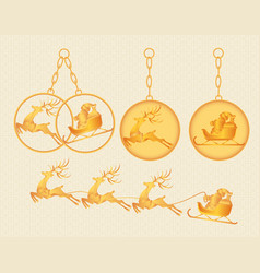 Christmas new year gold keychains charms vector