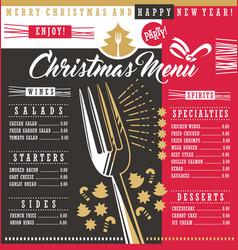 christmas restaurant menu template with christmas vector image vector image
