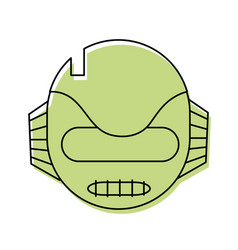 color technology robot head with ears and mouth vector image