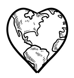 doodle earth day heart vector image vector image