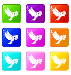 Dove carrying envelope icons 9 set vector