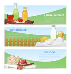 Eco food natural products horizontal banners vector