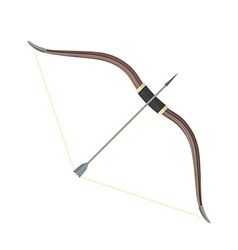 Flat style colored medieval bow arrow icon vector