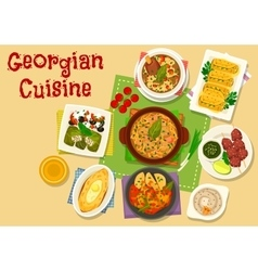 Georgian cuisine meat and vegetable dishes icon vector