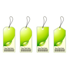 Green shopping tags set vector