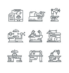 Industrial machines line icons factory vector