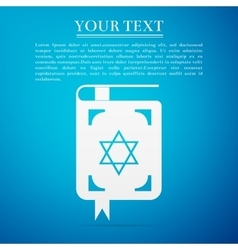 Jewish torah book flat icon on blue background vector