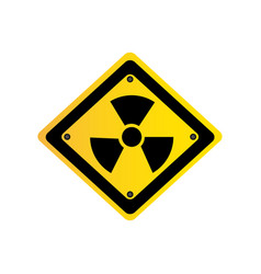 metal emblem warning radiation sign vector image