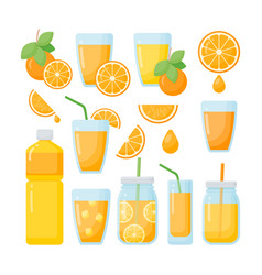 Orange juice flat icons set vector