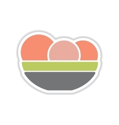 Paper sticker on white background plate of apples vector