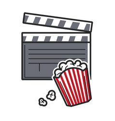 Popcorn and movie clapper usa america tourist vector