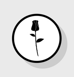 Rose sign flat black icon in vector