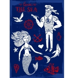 Sailor and mermaid vector