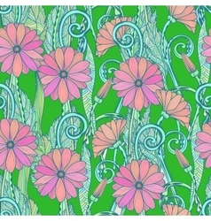 Seamless gerbera daisy flowers pattern or vector