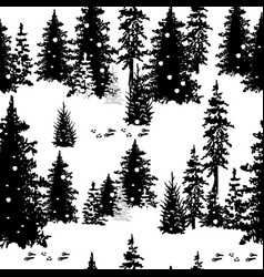 seamless pattern with silhouettes of trees vector image