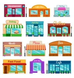 Shops and stores front icons set flat style vector image vector image