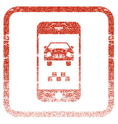 Smartphone taxi car framed textured icon vector