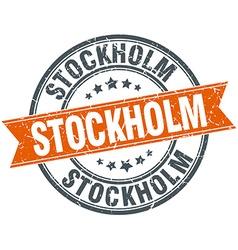 Stockholm red round grunge vintage ribbon stamp vector