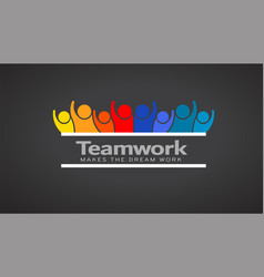 teamwork people of eight persons logo vector image