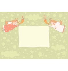 Text frame with two angels vector