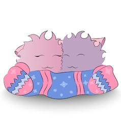 Two happy cartoon character mittens scarf vector