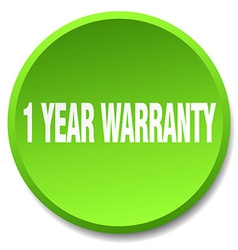 1 year warranty green round flat isolated push vector