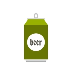Green aluminum can of beer icon flat style vector