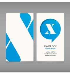 Business card template letter x vector
