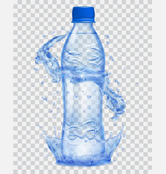 Transparent plastic bottle with water crown and vector