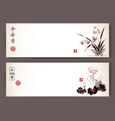Banners with wild orchid and lotus flowers in vector