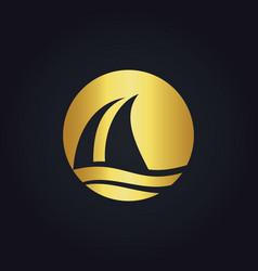 Sail boat water beach travel gold logo vector
