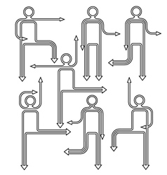 Arrow people directional icons vector