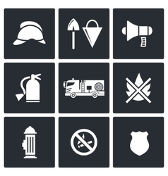 Fire department service icons set vector