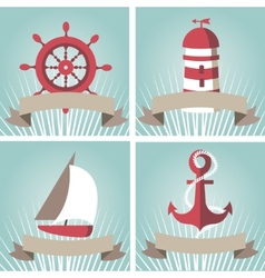 Set of seascape with nautical elements vector