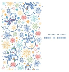 Cute snowmen vertical frame seamless pattern vector