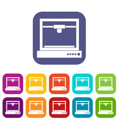 3d printer model icons set flat vector