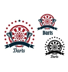 Darts icons with arrows and dartboard vector