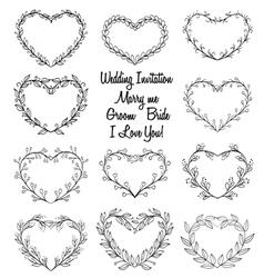 Hand drawn wreaths in heart vector