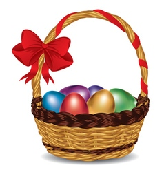 Basket with colorful eggs vector