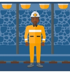 Confident miner in hardhat vector
