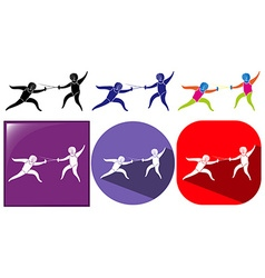Sport icon for fencing in three designs vector