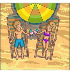 Summer relax leasure scene on the beach vector