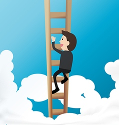 Businessman climb ladder into sky concept of above vector