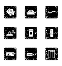 Airport icons set grunge style vector