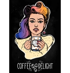 Beautiful pin-up girl with a coffee cup vector