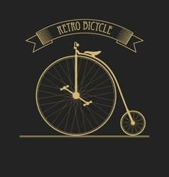 Black gold of old vintage bicycle vector
