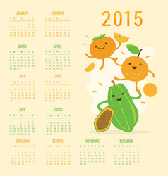 Calendar 2015 fruit cute cartoon papaya orange per vector