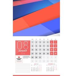 Calendar for 2016 year august design clean vector