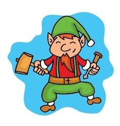 Cartoon elf helper with hammer Christmas vector image vector image