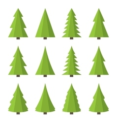 Christmas Tree Icon Set Flat Style vector image